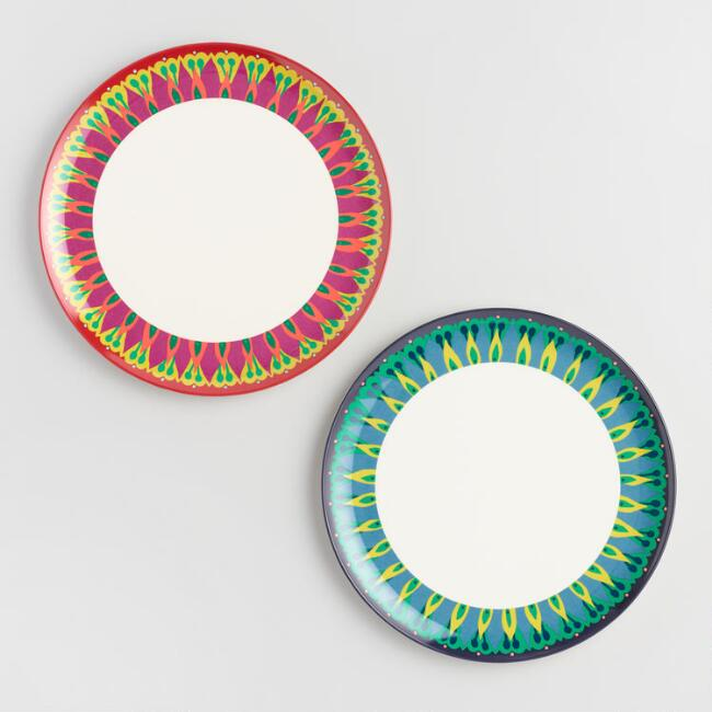 Coastal Blossoms Melamine Dinner Plates Set of 2