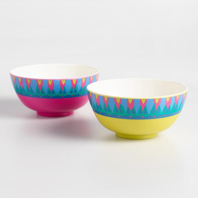 Coastal Blossoms Melamine Bowls Set of 2