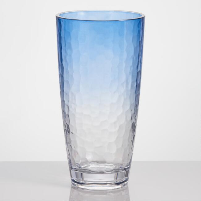 Dark Blue Ombre Acrylic Highball Glasses Set of 4