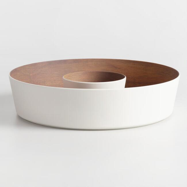 White Melamine Faux Wood Chip and Dip Bowl