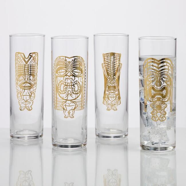 Gold Tiki Highball Glasses Set of 4