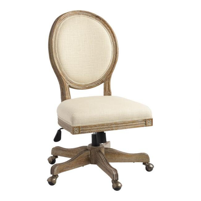 Natural Linen Paige Round Back Office Chair - Natural Linen Paige Round Back Office Chair World Market