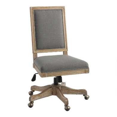 Charcoal Gray Linen Square Back Paige Office Chair