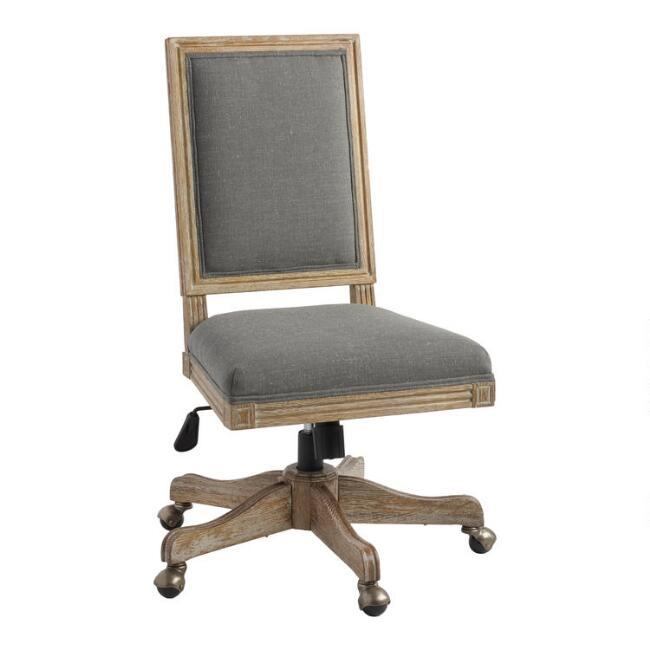 Charcoal Gray Linen Paige Square Back Office Chair