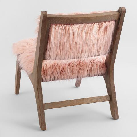 Blush Faux Flokati Gunnar Chair | World Market