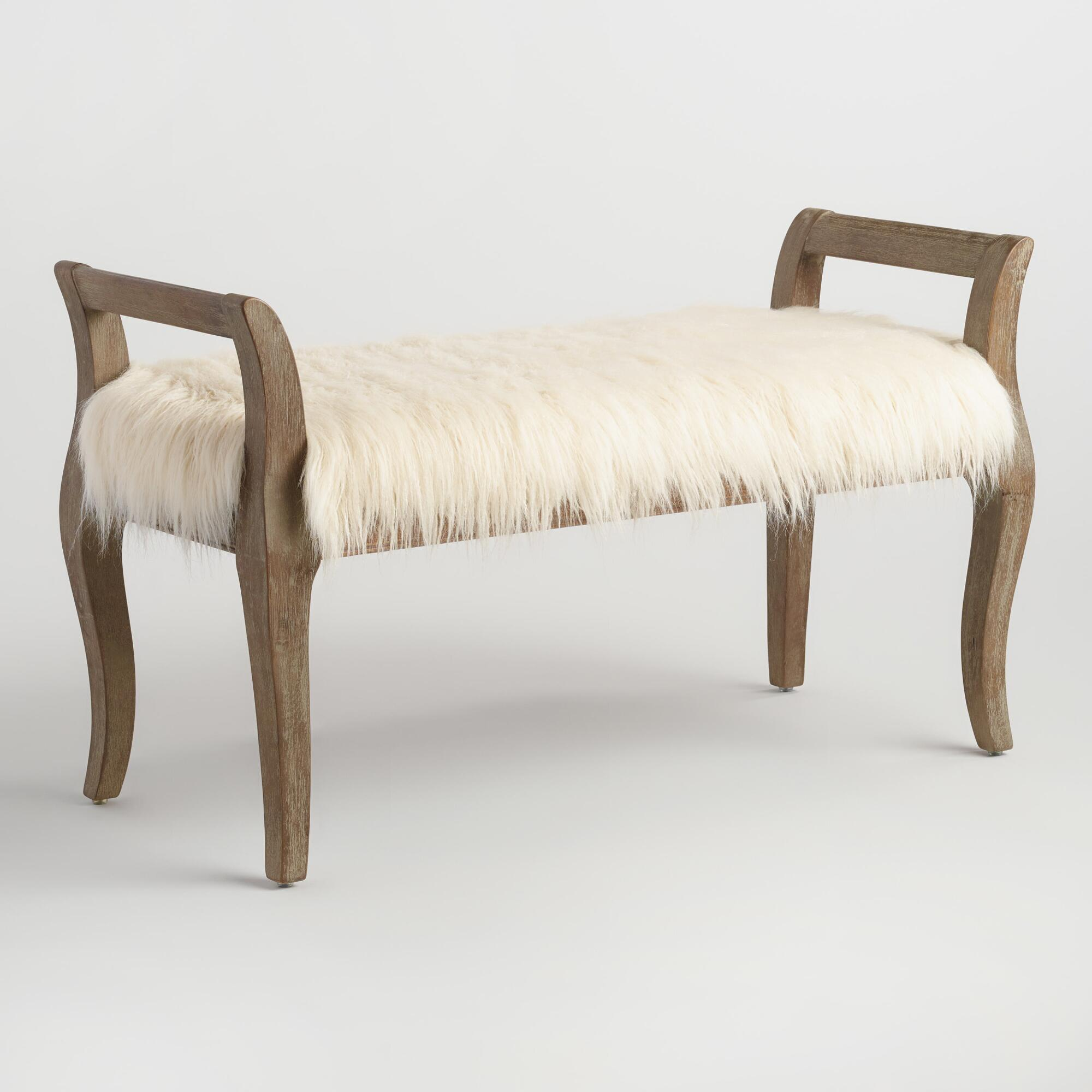Bedroom bench with arms - Natural Faux Flokati Gunnar Bench