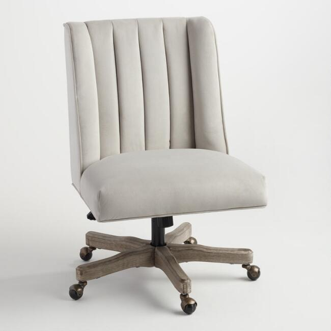 Dove Gray Channel Back Ava Upholstered Office Chair