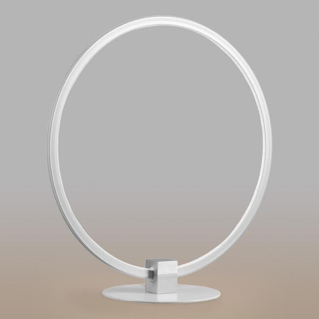 White Metal LED Ring Luna Table Lamp