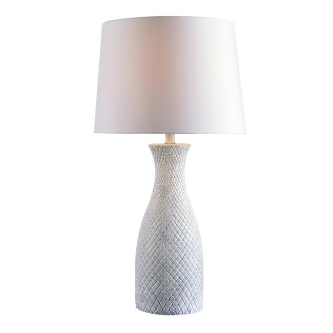 White and Blue Wash Crosshatch Anna Table Lamp