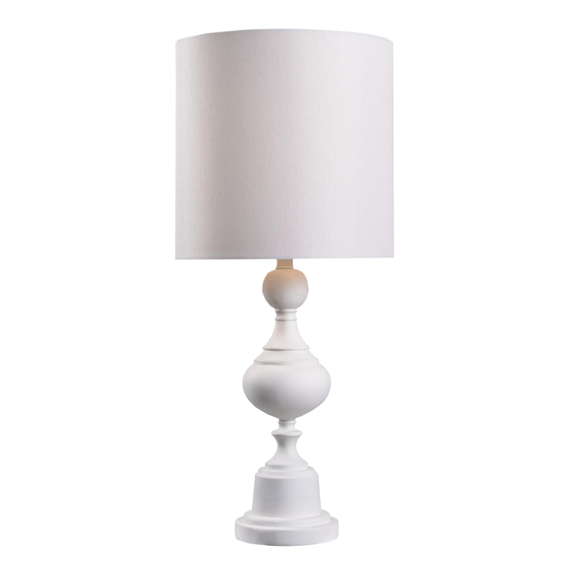 White Resin Toula Table Lamp and Shade Set by World Market