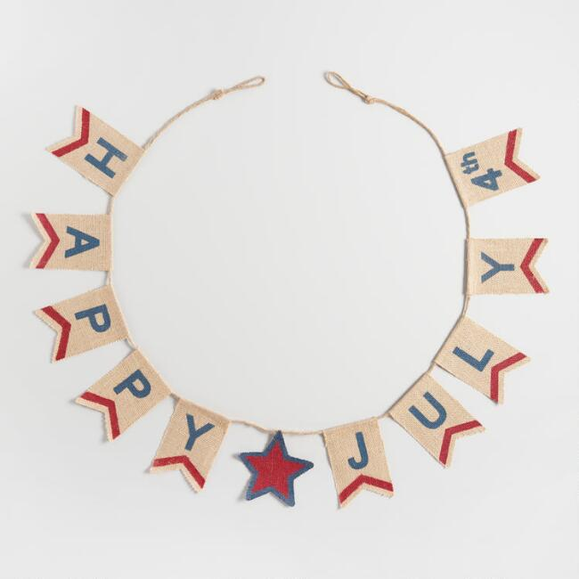 Burlap Fourth of July Garland