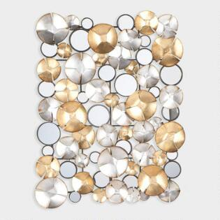 Gold And Silver Circles Mirrored Wall Décor