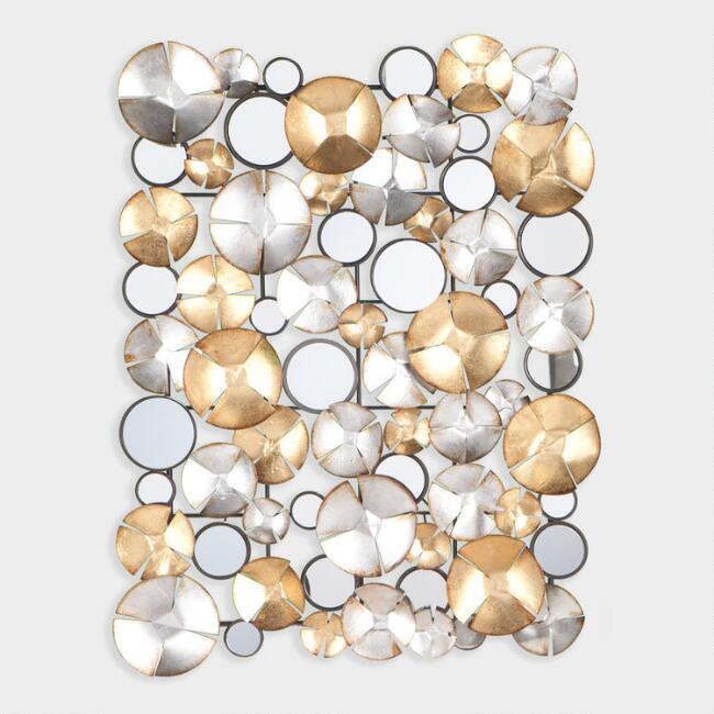 Gold And Silver Circles Mirrored Wall D 233 Cor World Market