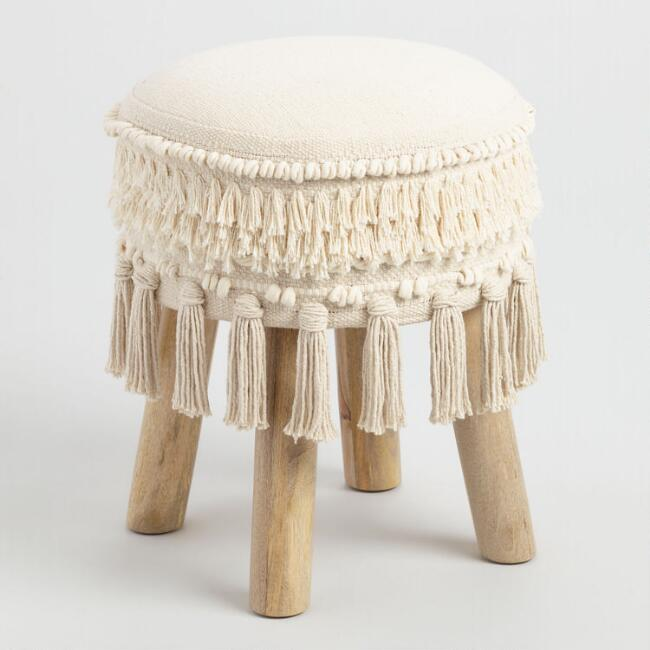 White Stool with Tassels