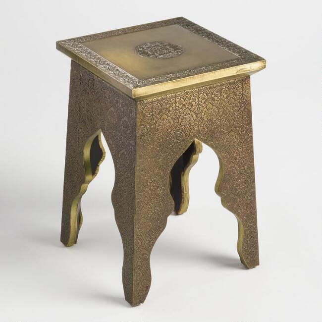 Square Embossed Accent Table