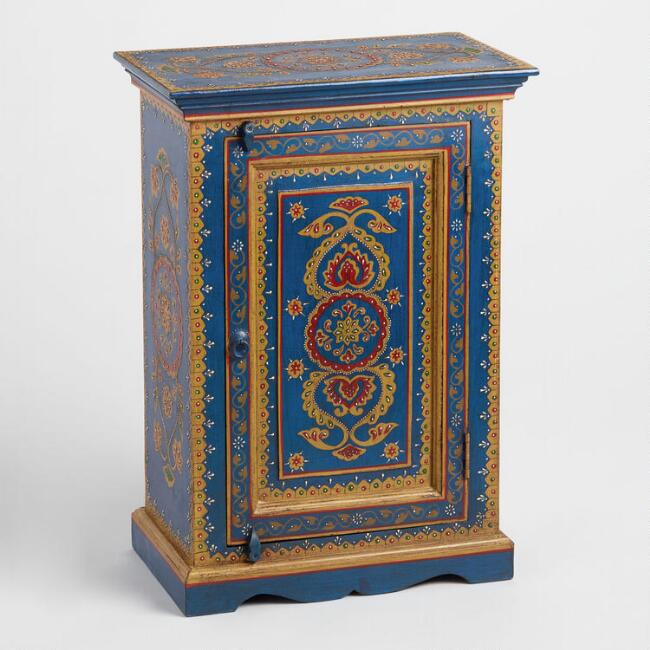 Blue Hand Painted Floral Wood Cabinet