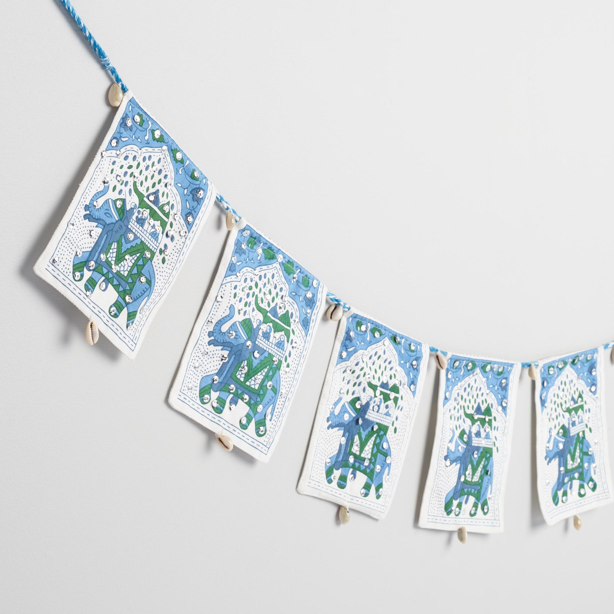 White and Blue Elephant Toran - Cotton by World Market
