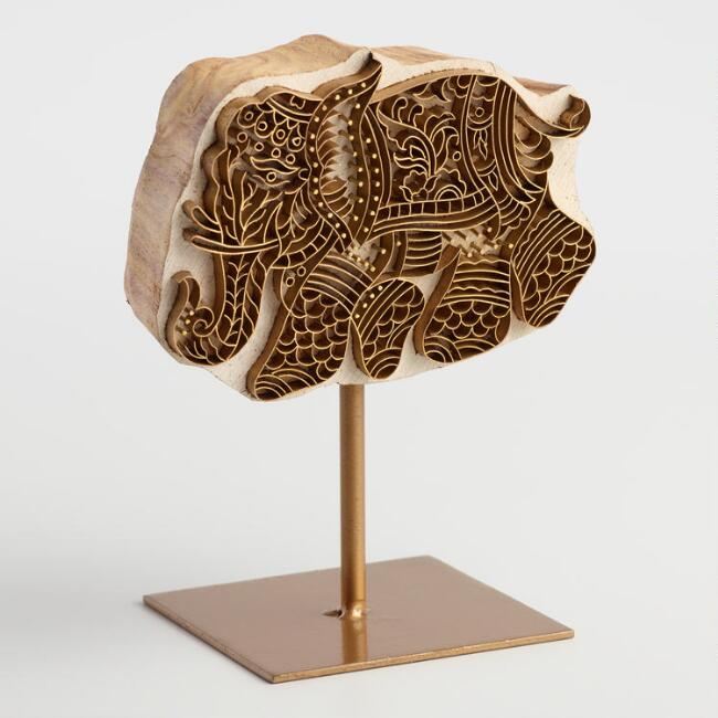 Wood Block Print Elephant with Stand