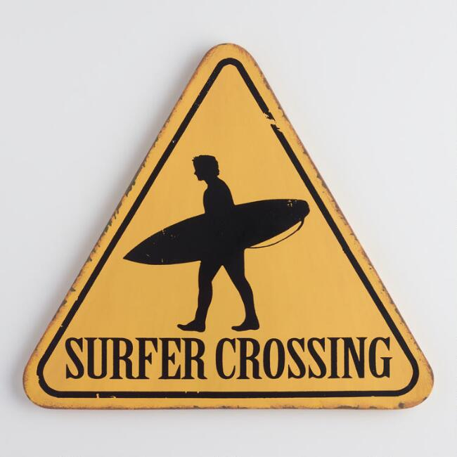 Yellow Surfer Crossing Sign Wall Decor | World Market