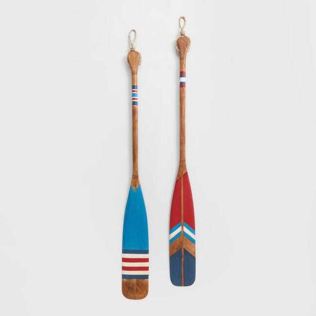 Red and Blue Wood Oars Wall Decor Set Of 2