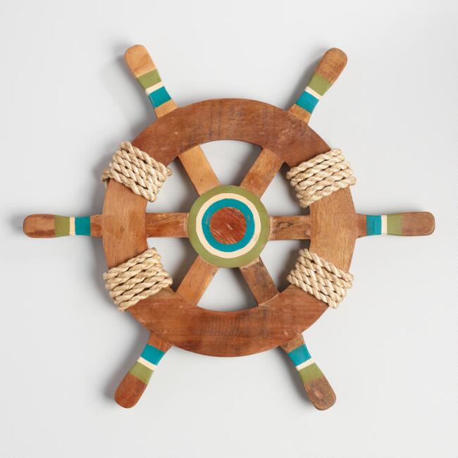 Green Wood Ship Wheel Wall Decor