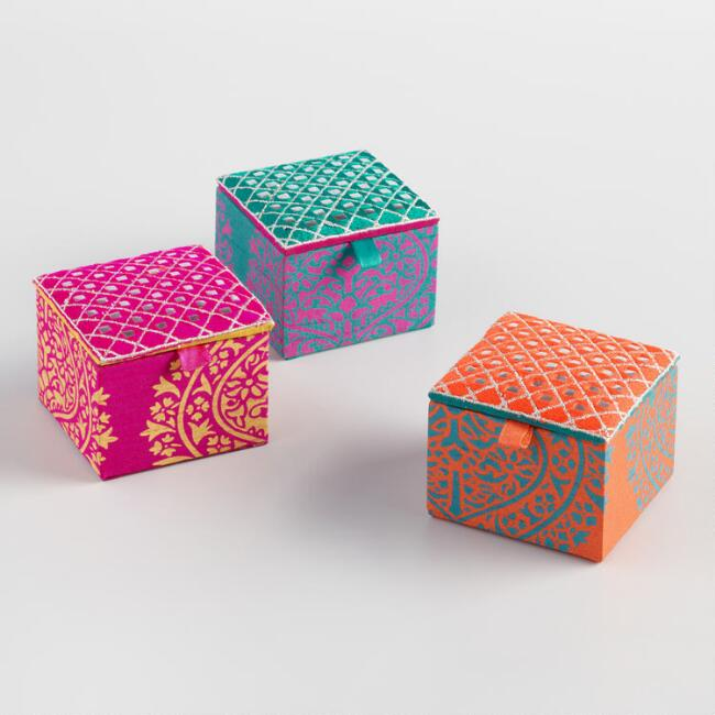 Square Fabric Trinket Boxes Set of 3