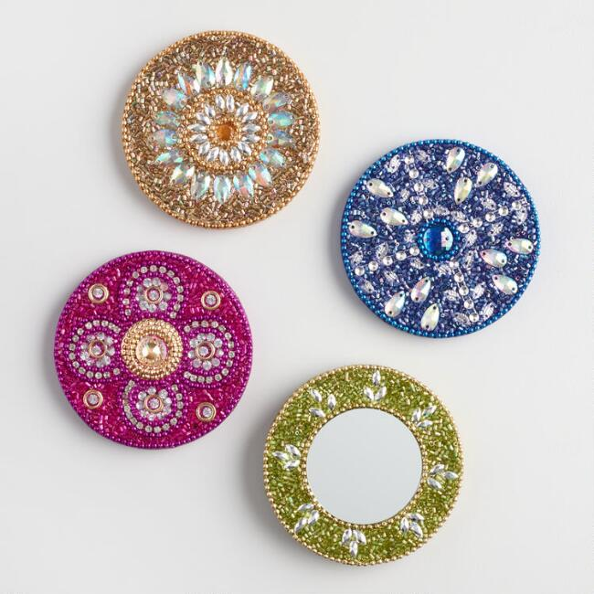 Beaded Lacquer Mini Mirrors Set of 4