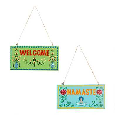 Namaste And Welcome Painted Signs Set Of 2