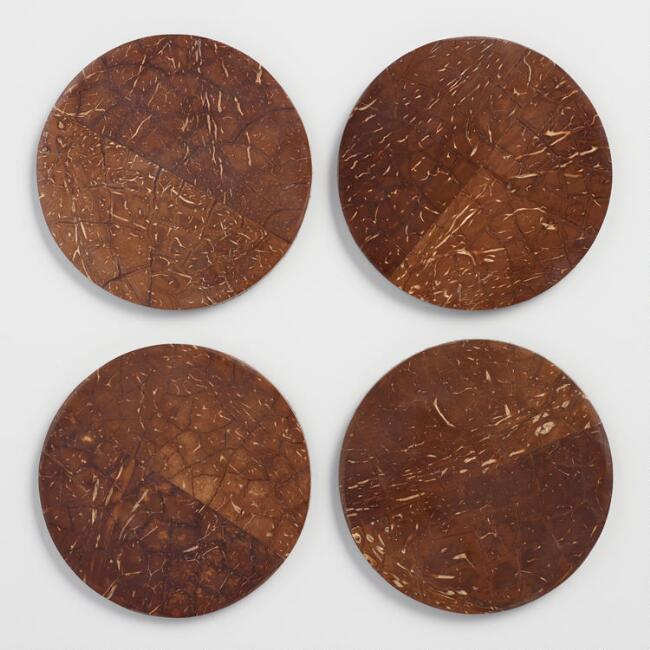 Coconut Shell Coasters with Holder Set of 4