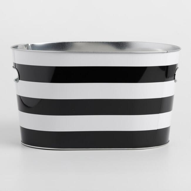 Black and White Stripe Oval Ice Bucket