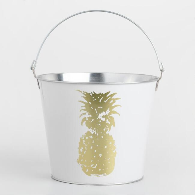 White and Gold Pineapple Ice Bucket