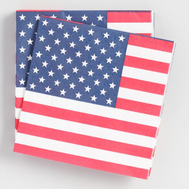 American Flag Beverage Napkins 20 Count