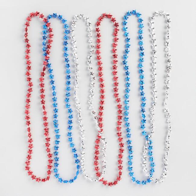 Red White and Blue Star Necklace Pack of 6