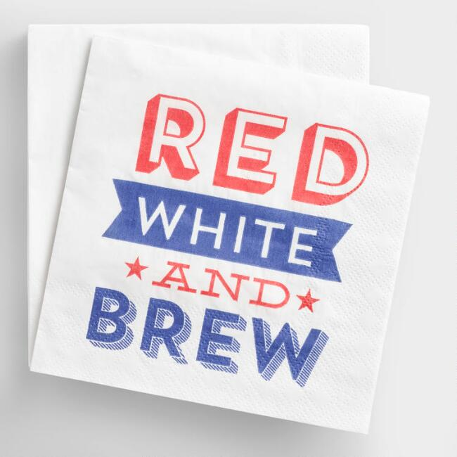 Red White Brew Beverage Napkins 20 Count