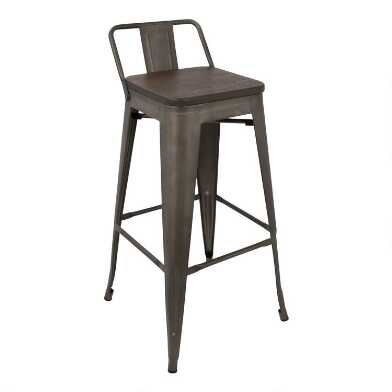 Metal and Wood Low Back Arwen Barstools Set Of 2