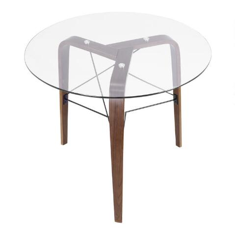 Round Wood And Glass Kirk Dining Table World Market