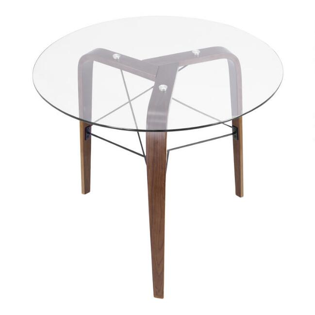 Round Wood and Glass Kirk Dining Table