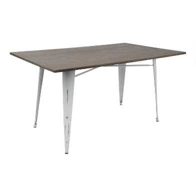 White Metal and Espresso Wood Ridgeby Dining Table