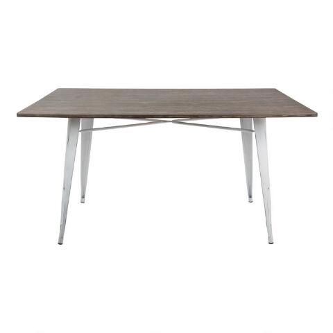 White Metal and Espresso Wood Ridgeby Dining Table. Previous. v4. v1. v2