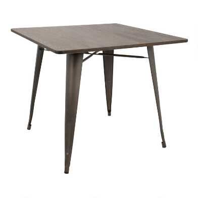 Square Antique Metal and Espresso Wood Arwen Dining Table