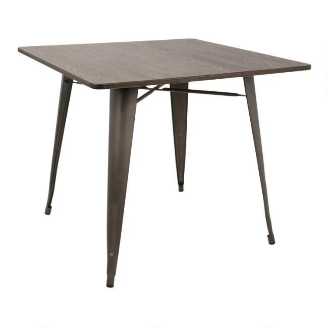 Square Espresso Metal and Wood Arwen Dining Table