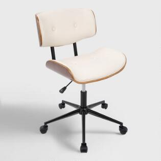 cream faux leather leander swivel office chair