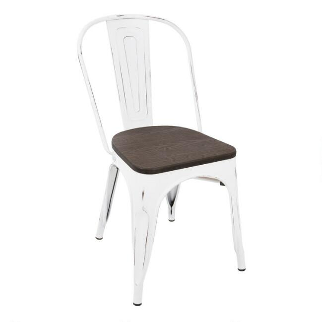White Metal and Espresso Wood Ridgeby Dining Chairs Set of 2