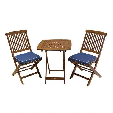 Cavallo 3-Piece Outdoor Bistro Set With Blue Cushions