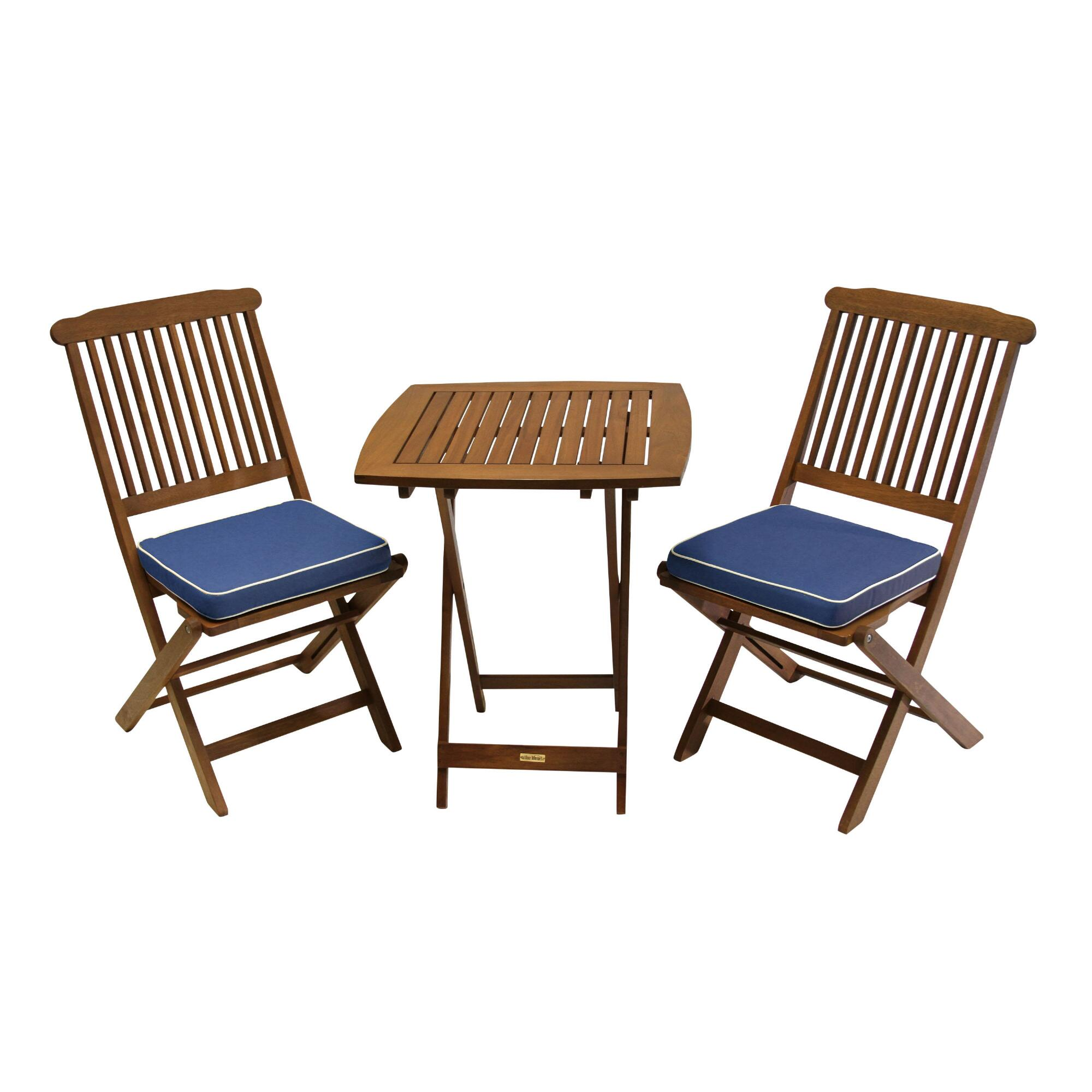 Wood Cavallo 3 Piece Outdoor Patio Bistro Set with Blue Cushions by World Market