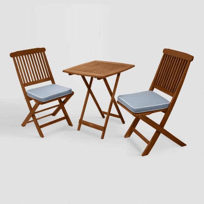 Wood Cavallo 3 Piece Outdoor Bistro Set with Gray Cushions