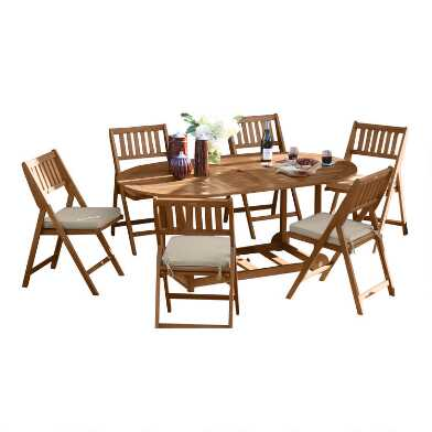 Oval Wood Lira 7 Piece Folding Outdoor Dining Set