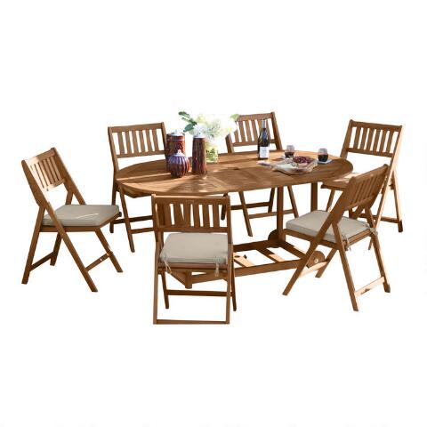 Oval Wood Lira 7 Piece Folding Dining Set