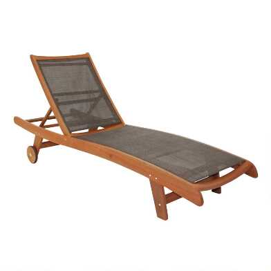 Dark Brown Lanai Sling Chaise Lounger Chairs Set Of 2