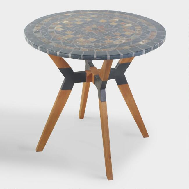 Rustic Slate Mosaic Canary Outdoor Bistro Table